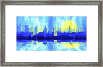 City Sun Silhouette Framed Print