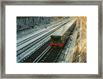 City Train In Berlin Under The Snow Framed Print