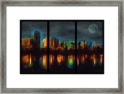 City Under A Blue Moon Framed Print