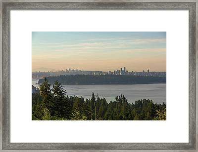 City View Of Vancouver And Burnaby Bc Framed Print by David Gn