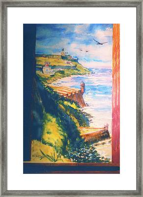 City Wall And Sentry Boxes  San Juan Puerto Rico Framed Print by Estela Robles