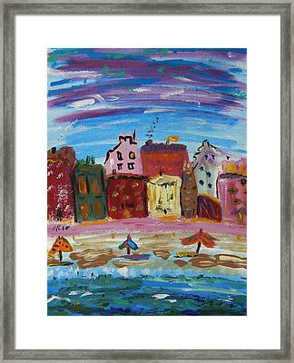 City With A Pink Boardwalk Framed Print by Mary Carol Williams