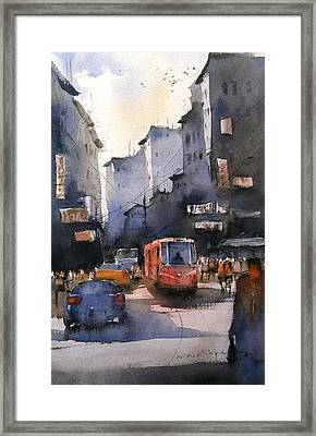 Cityscape Art Watercolor Framed Print by Nitin Singh