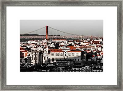 Lisbon In Black, White And Red Framed Print