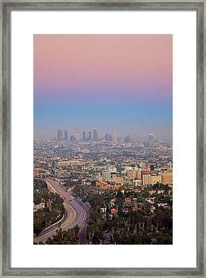 Cityscape Of Los Angeles Framed Print by Eric Lo