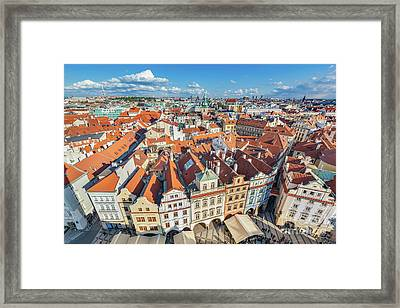 Cityscape Of Prague, Czech Republic. Traditional Red Roof Tenement Houses. Framed Print by Michal Bednarek