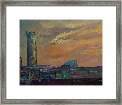 Cityscape With Tower Framed Print by Maris Salmins
