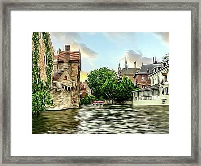 Cityscape Bruges Belgium Framed Print