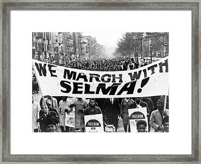 Civil Rights, Marchers Carrying Banner Framed Print by Everett