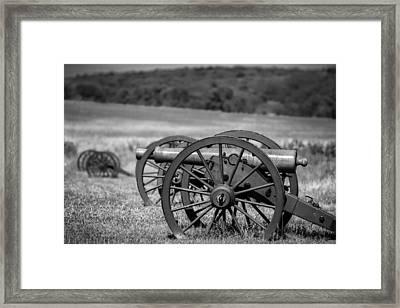 Civil War Artillery In Black And White Framed Print