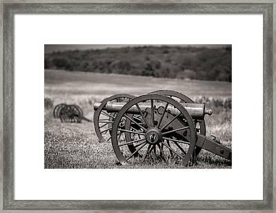 Civil War Artillery In Sepia Framed Print