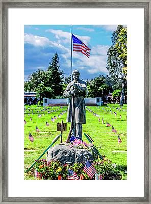 Civil War Bronze Soldier  Framed Print by Julian Starks