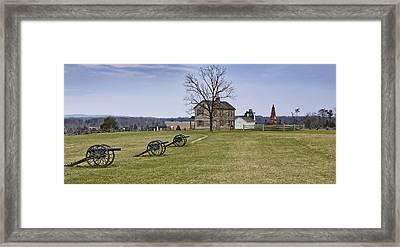 Civil War Cannons And Henry House At Manassas Battlefield Park - Virginia Framed Print by Brendan Reals