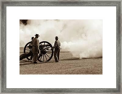 Civil War Era Cannon Firing  Framed Print