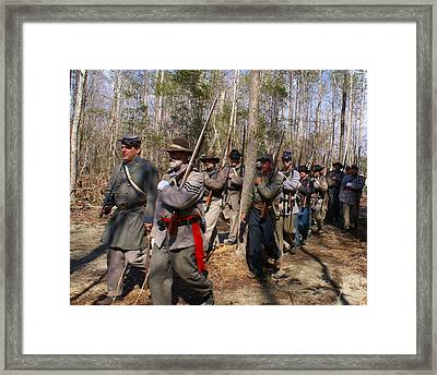 Civil War Soldiers March Through Woods Framed Print by Rodger Whitney