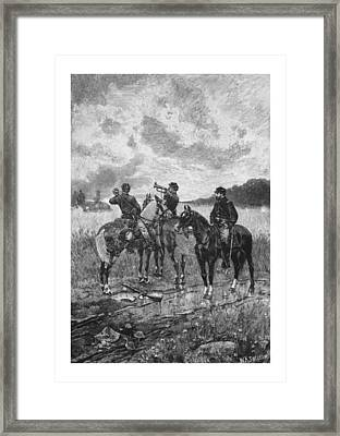 Civil War Soldiers On Horseback Framed Print by War Is Hell Store