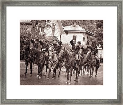 Civil War Soldiers On Horses Framed Print