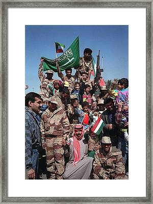 Civilians And Coalition Military Forces Framed Print
