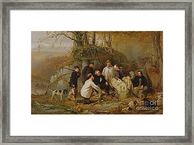 Claiming The Shot - After The Hunt In The Adirondacks Framed Print by John George Brown