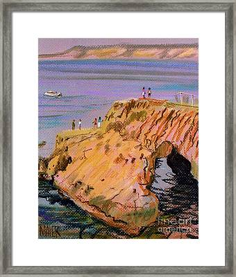 Clam Rock Evening Framed Print by Donald Maier