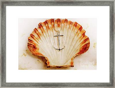 Clam Shell And Naval Anchor Framed Print by Jorgo Photography - Wall Art Gallery