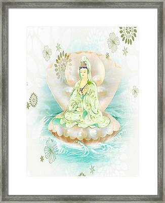 Clam-sitting Kuan Yin 1 Framed Print by Lanjee Chee