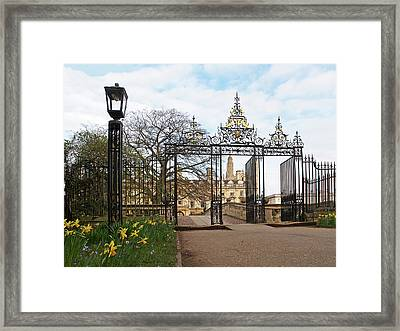 Clare College Gate Cambridge Framed Print by Gill Billington