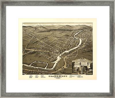 Claremont New Hampshire 1877 Framed Print by Mountain Dreams