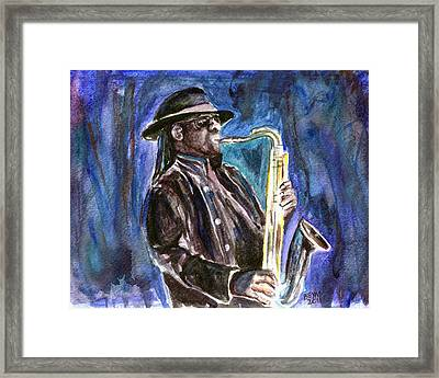 Framed Print featuring the painting Clarence Clemons by Clara Sue Beym