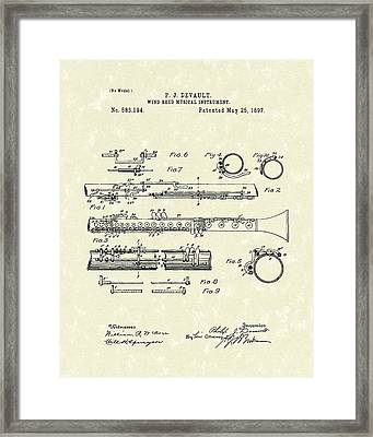 Clarinet 1897 Patent Art  Framed Print by Prior Art Design