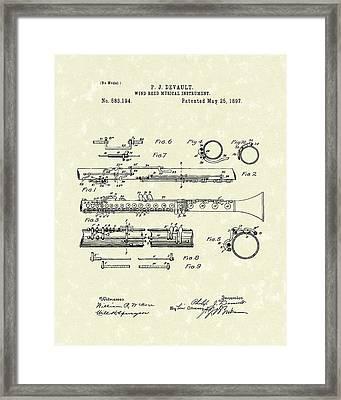 Clarinet 1897 Patent Art  Framed Print by Prior Art Design