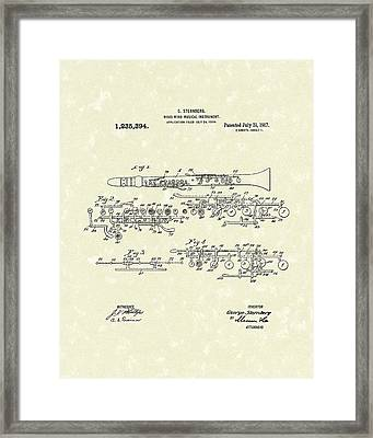 Clarinet 1917 Patent Art Framed Print by Prior Art Design