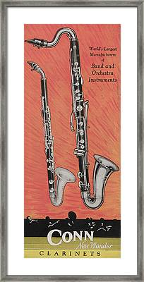 Clarinet And Giant Boehm Bass Framed Print by American School