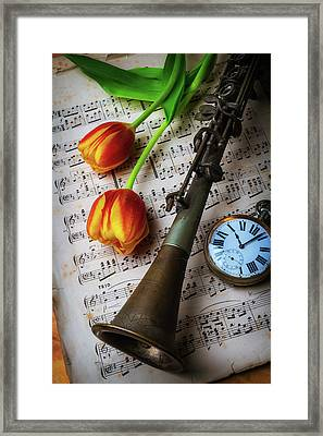 Clarinet And Tulips Framed Print by Garry Gay