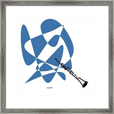 Clarinet In Blue Framed Print by David Bridburg
