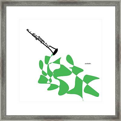 Clarinet In Green Framed Print