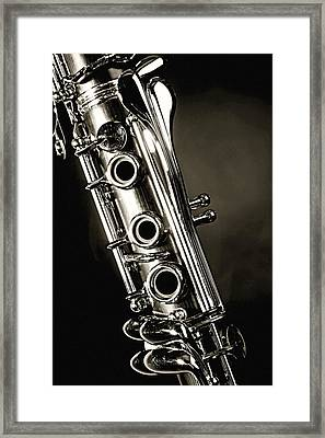 Clarinet Isolated In Black And White Framed Print