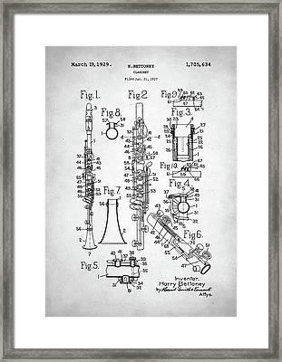 Clarinet Patent Framed Print by Taylan Apukovska