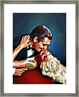 Clark Gable And Jean Harlow, Embrace, Digital Art By Mary Bassett Framed Print by Mary Bassett