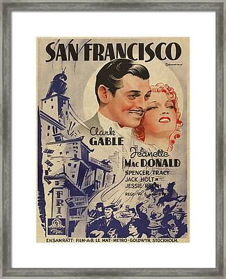 Clark Gable San Francisco Vintage Classic Movie Promotional Poster Framed Print by Design Turnpike