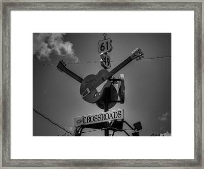 Clarksdale - The Crossroads 001 Bw Framed Print