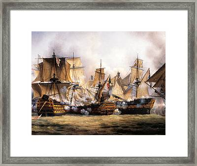 Clash Between English Temeraire And French Redoubtable Ships During Battle Of Trafalgar Framed Print by Unknown