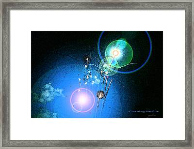 Clashing Worlds Framed Print by Gary Gunderson