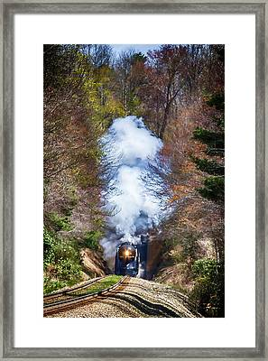 Class J 611 Steam Engine Exits Swannanoa Gap Tunnel Framed Print