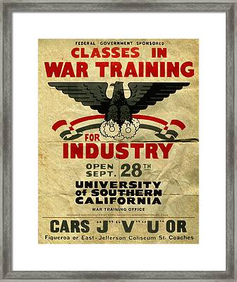 Classes In War Training For Industry - Vintage Poster Folded Framed Print