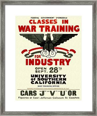 Classes In War Training For Industry - Vintage Poster Restored Framed Print