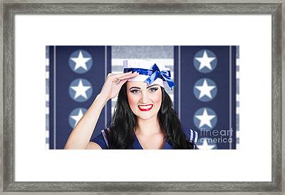 Classic 40s Pin Up Navy Girl Saluting With Smile Framed Print by Jorgo Photography - Wall Art Gallery