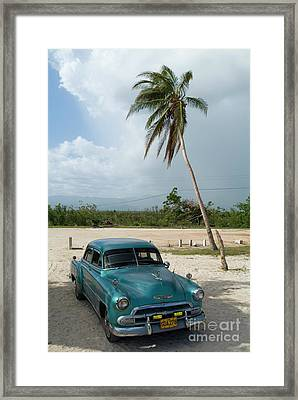 Classic American Car Parked At Ancon Beach Framed Print by Sami Sarkis