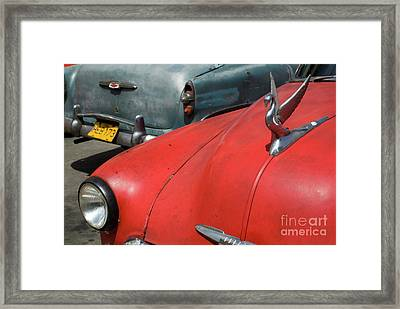 Classic American Cars Parked In The Streets Of Havana Framed Print by Sami Sarkis