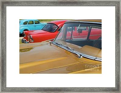 Classic American Cars Parked In Varadero Framed Print by Sami Sarkis